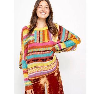 Free People December Skies Wool Alpaca Knit Poncho